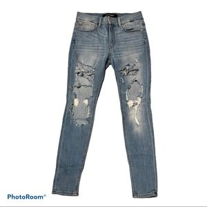 Express Stretch Blue Jeans Distressed Junior 4s